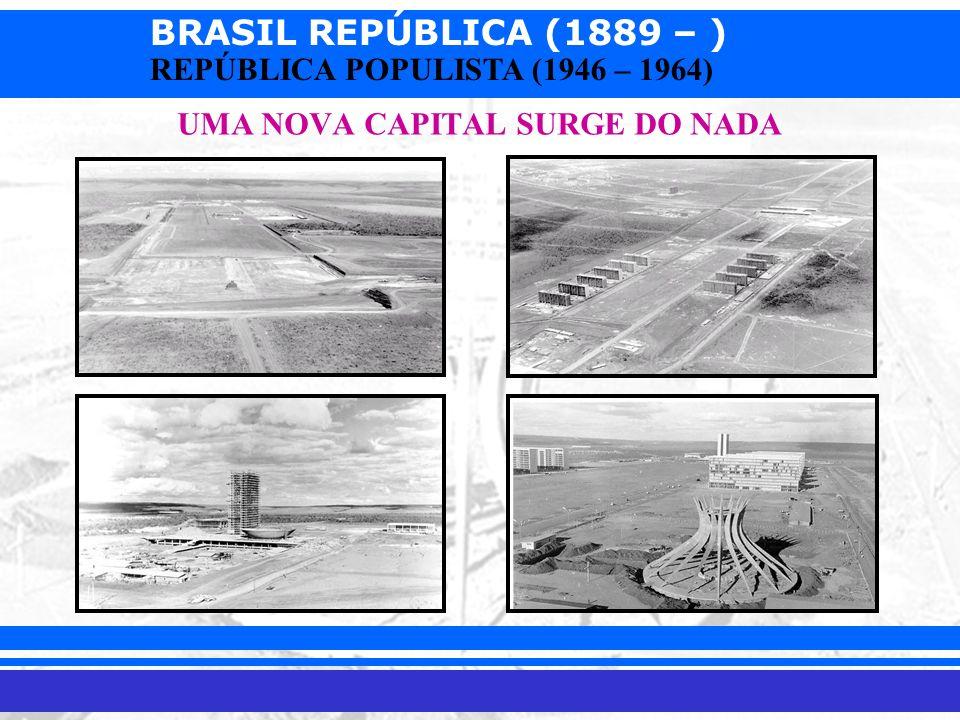 BRASIL REPÚBLICA (1889 – ) Prof. Iair iair@pop.com.br REPÚBLICA POPULISTA (1946 – 1964) UMA NOVA CAPITAL SURGE DO NADA