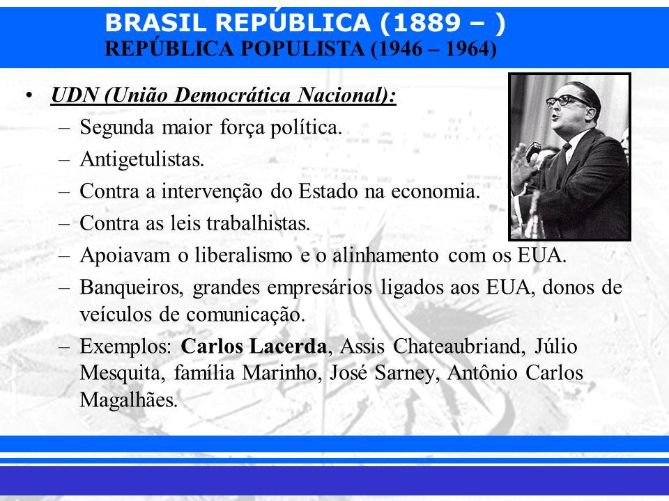 BRASIL REPÚBLICA (1889 – ) Prof. Iair iair@pop.com.br REPÚBLICA POPULISTA (1946 – 1964) UDN (União Democrática Nacional): –Segunda maior força polític