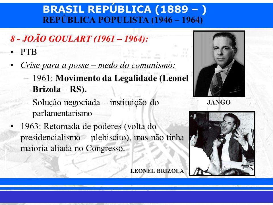 BRASIL REPÚBLICA (1889 – ) Prof. Iair iair@pop.com.br REPÚBLICA POPULISTA (1946 – 1964) 8 - JOÃO GOULART (1961 – 1964): PTB Crise para a posse – medo