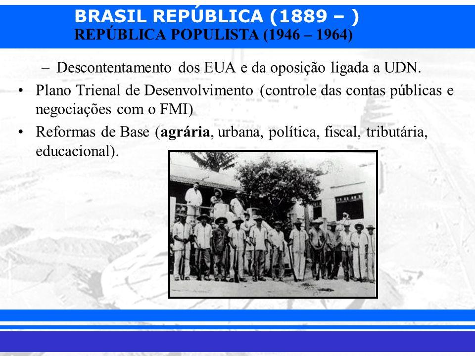 BRASIL REPÚBLICA (1889 – ) Prof. Iair iair@pop.com.br REPÚBLICA POPULISTA (1946 – 1964) –Descontentamento dos EUA e da oposição ligada a UDN. Plano Tr
