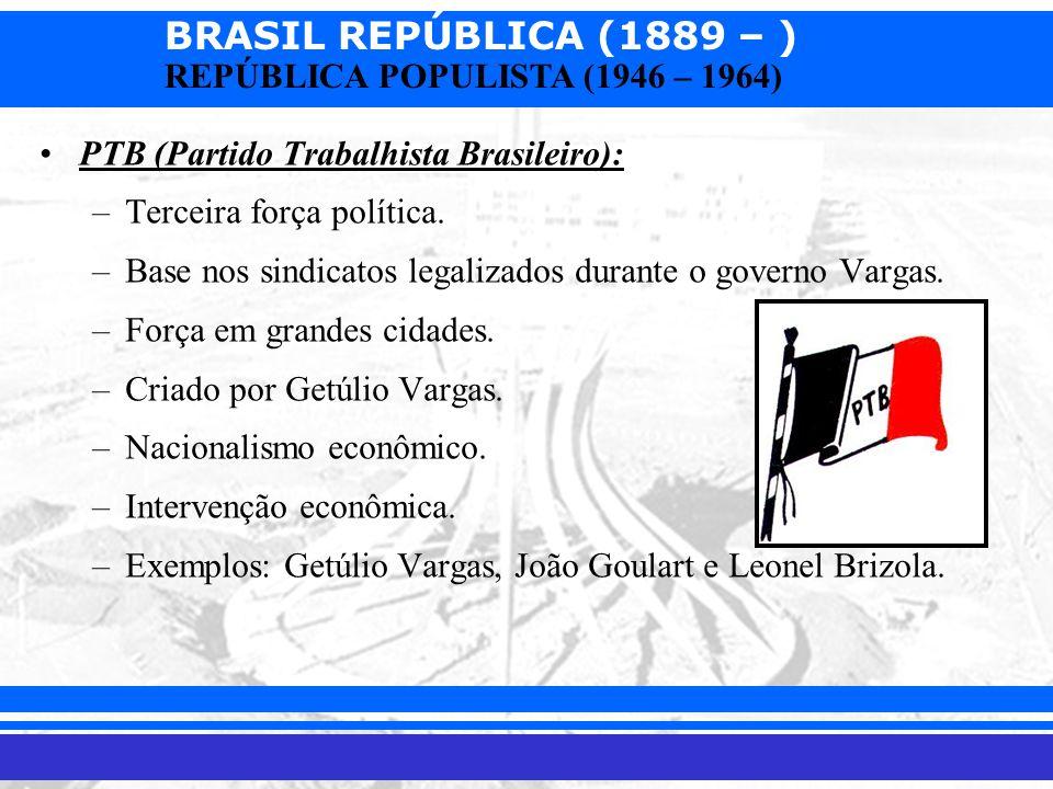 BRASIL REPÚBLICA (1889 – ) Prof. Iair iair@pop.com.br REPÚBLICA POPULISTA (1946 – 1964) PTB (Partido Trabalhista Brasileiro): –Terceira força política
