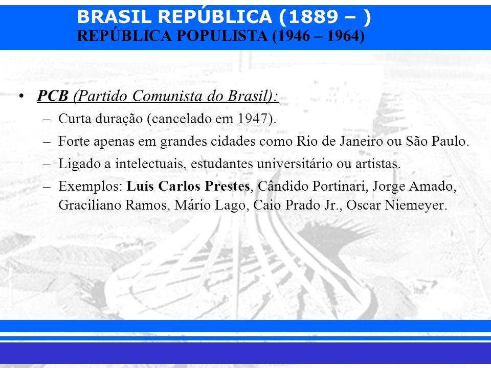 BRASIL REPÚBLICA (1889 – ) Prof. Iair iair@pop.com.br REPÚBLICA POPULISTA (1946 – 1964) PCB (Partido Comunista do Brasil): –Curta duração (cancelado e