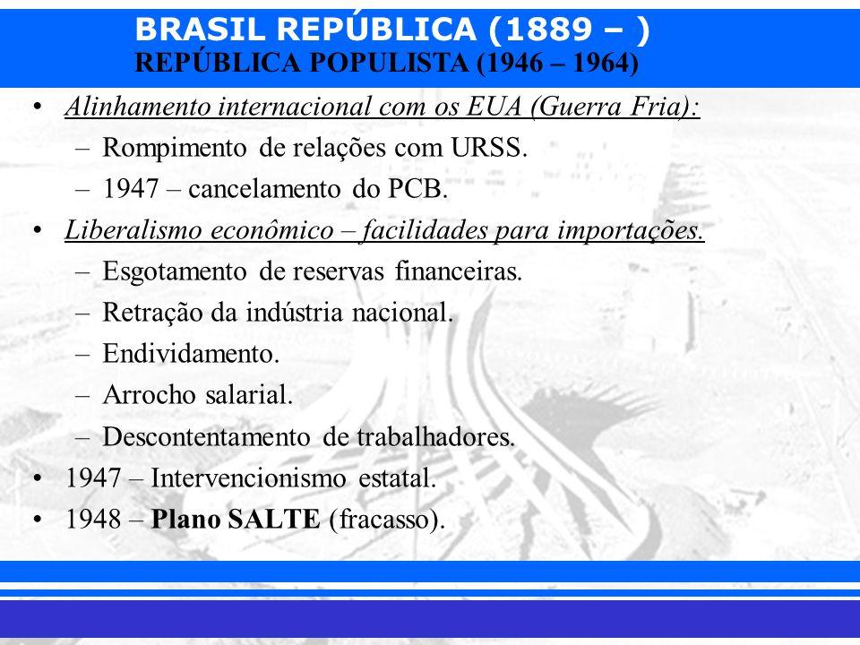 BRASIL REPÚBLICA (1889 – ) Prof. Iair iair@pop.com.br REPÚBLICA POPULISTA (1946 – 1964) Alinhamento internacional com os EUA (Guerra Fria): –Rompiment