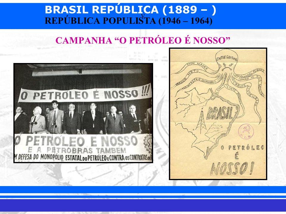BRASIL REPÚBLICA (1889 – ) Prof. Iair iair@pop.com.br REPÚBLICA POPULISTA (1946 – 1964) v CAMPANHA O PETRÓLEO É NOSSO
