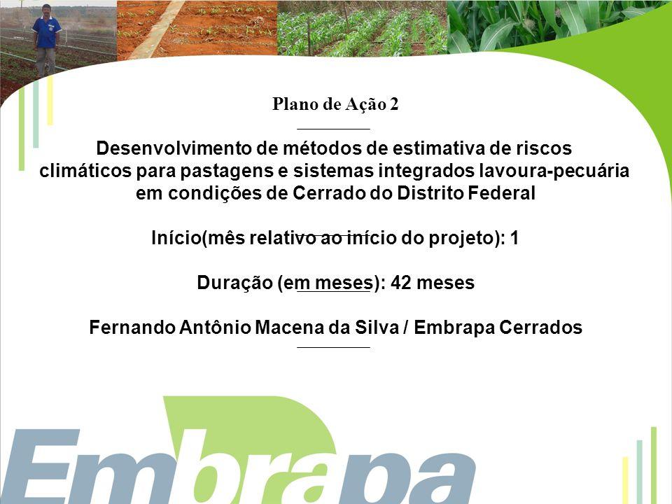 Plano de ação 3 Desenvolvimento de métodos de estimativa de riscos climáticos para pastagens e sistemas integrados lavoura-pecuária na região Sudeste Início (mês relativo ao início do projeto): 1 Duração (em meses): 42 meses Fernando Campos Mendonça / Embrapa Pecuária Sudeste