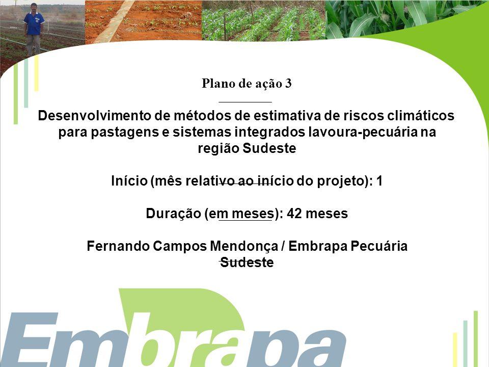 Plano de ação 4 Desenvolvimento de métodos de estimativa de riscos climáticos para pastagens e sistemas integrados lavoura-pecuária em condições de Cerrado do Mato Grosso do Sul.
