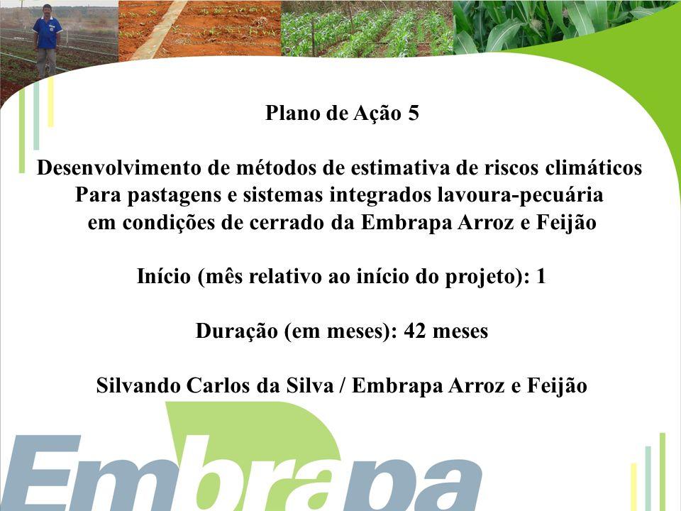 Plano de Ação 5 Desenvolvimento de métodos de estimativa de riscos climáticos Para pastagens e sistemas integrados lavoura-pecuária em condições de ce