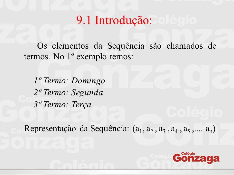 9.1 Introdução: Os elementos da Sequência são chamados de termos. No 1º exemplo temos: 1º Termo: Domingo 2º Termo: Segunda 3º Termo: Terça Representaç