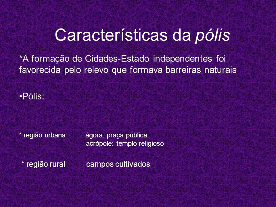 Características da pólis *A formação de Cidades-Estado independentes foi favorecida pelo relevo que formava barreiras naturais Pólis: * região rural c