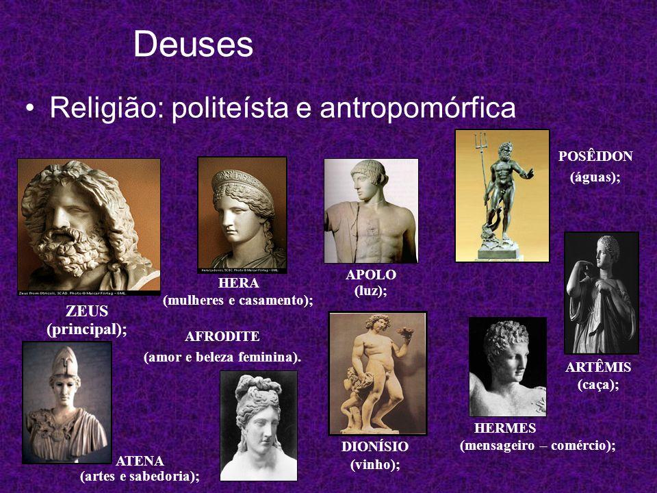 Deuses Religião: politeísta e antropomórfica ZEUS (principal); HERA (mulheres e casamento); ATENA (artes e sabedoria); APOLO (luz); ARTÊMIS (caça); PO