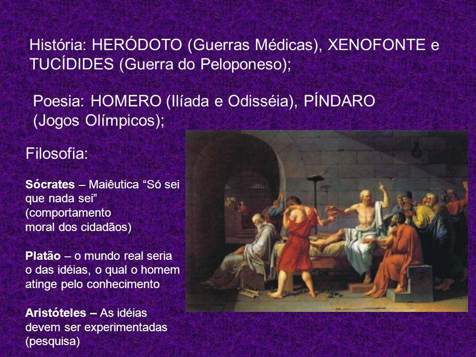 História: HERÓDOTO (Guerras Médicas), XENOFONTE e TUCÍDIDES (Guerra do Peloponeso); Poesia: HOMERO (Ilíada e Odisséia), PÍNDARO (Jogos Olímpicos); Fil