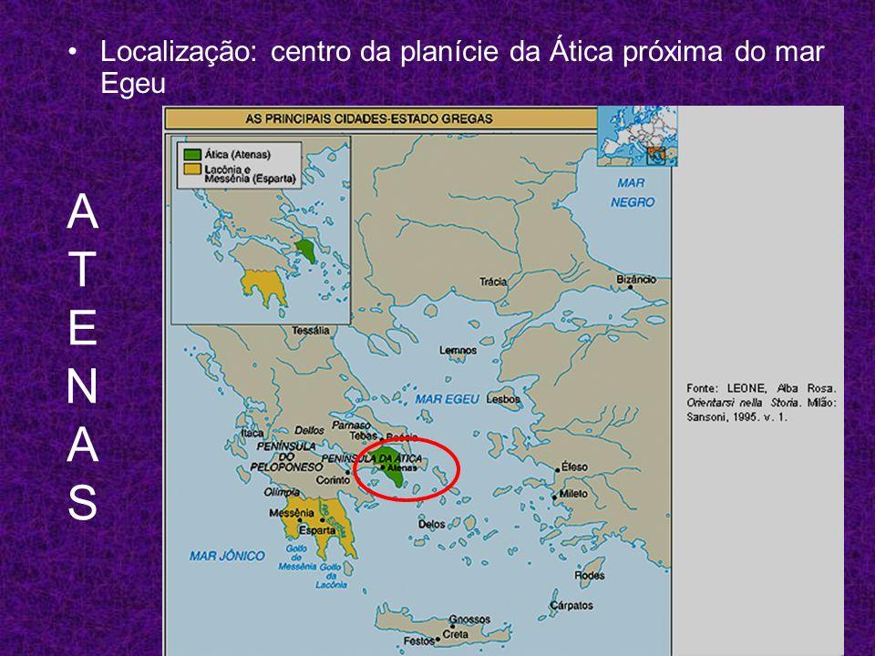 ATENASATENAS Localização: centro da planície da Ática próxima do mar Egeu