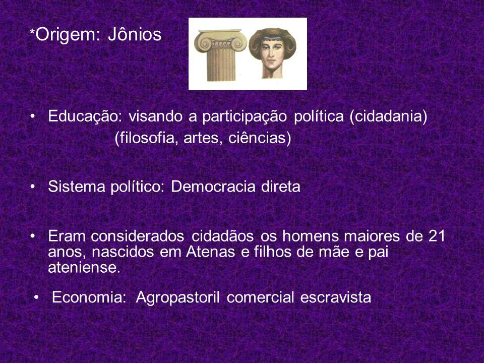 * Origem: Jônios Educação: visando a participação política (cidadania) (filosofia, artes, ciências) Eram considerados cidadãos os homens maiores de 21