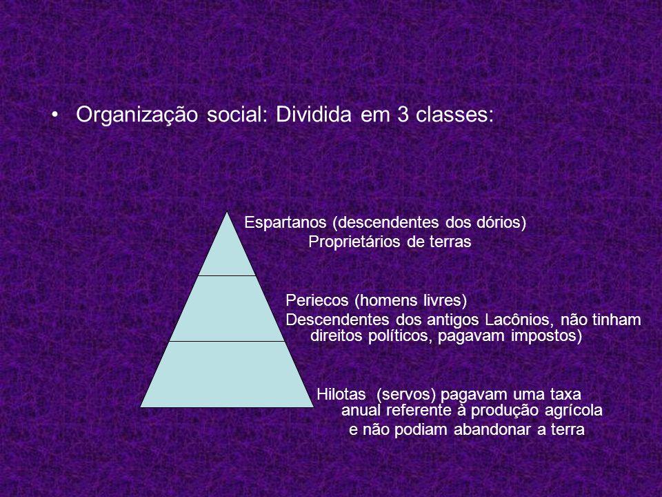 Organização social: Dividida em 3 classes: Espartanos (descendentes dos dórios) Proprietários de terras Periecos (homens livres) Descendentes dos anti