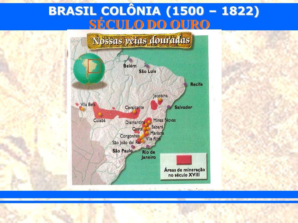 BRASIL COLÔNIA (1500 – 1822) SÉCULO DO OURO -100 arrobas anuais (1500kg/ano).