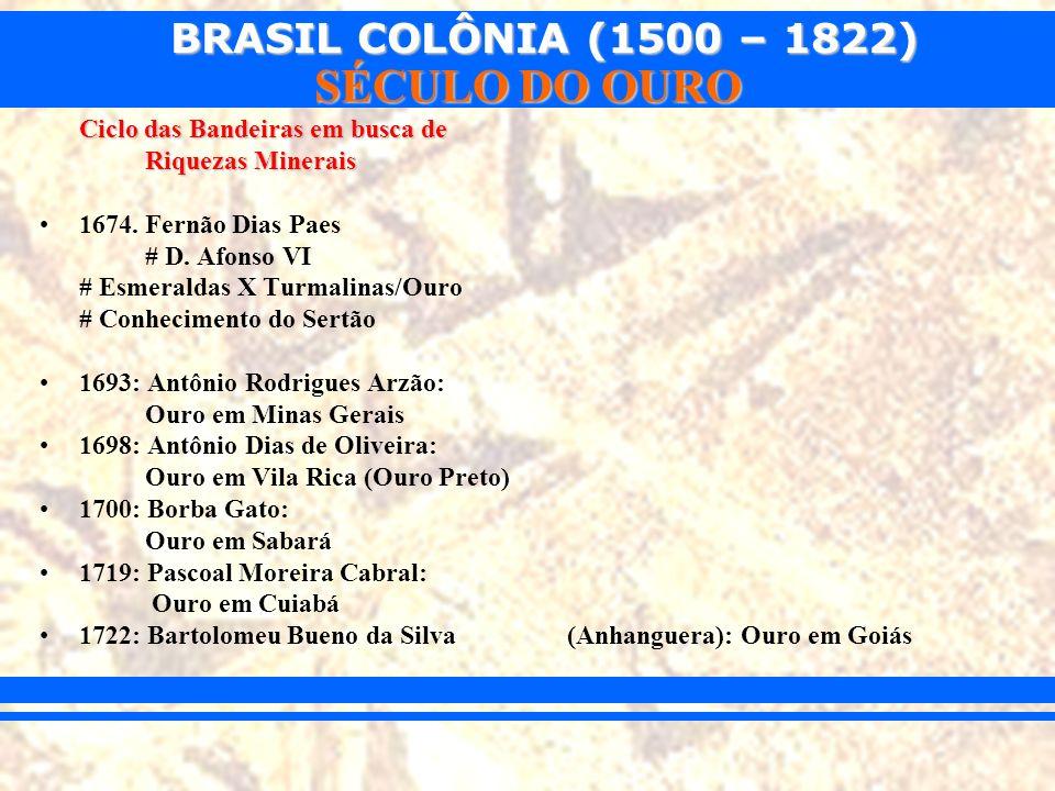 BRASIL COLÔNIA (1500 – 1822) SÉCULO DO OURO Conseqüências: alargamento informal das fronteiras, alargamento informal das fronteiras, Ataque e destruição de missões no sul, dando origem a reserva de gado, Ataque e destruição de missões no sul, dando origem a reserva de gado, Descoberta de ouro (nos atuais estados de MG, MT e GO) Descoberta de ouro (nos atuais estados de MG, MT e GO)