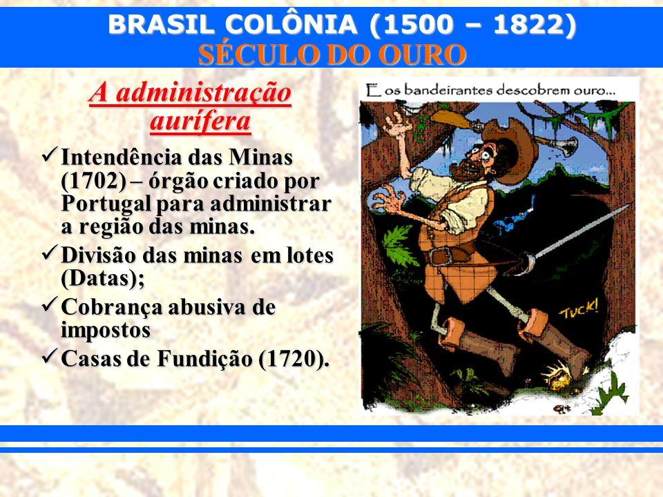 BRASIL COLÔNIA (1500 – 1822) SÉCULO DO OURO –Urbanização (Vila Rica, Mariana, Sabará, Diamantina...).