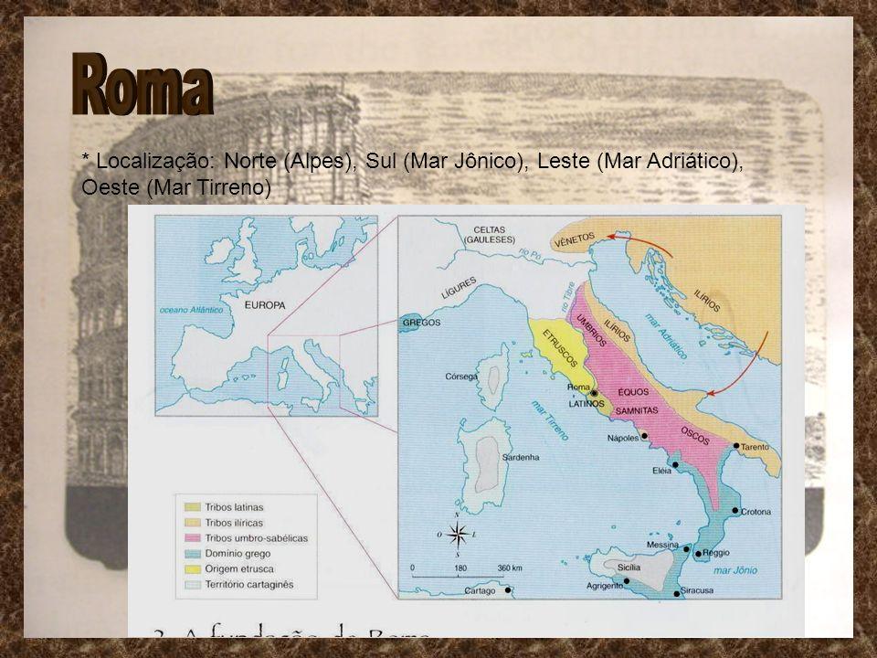 * Localização: Norte (Alpes), Sul (Mar Jônico), Leste (Mar Adriático), Oeste (Mar Tirreno)