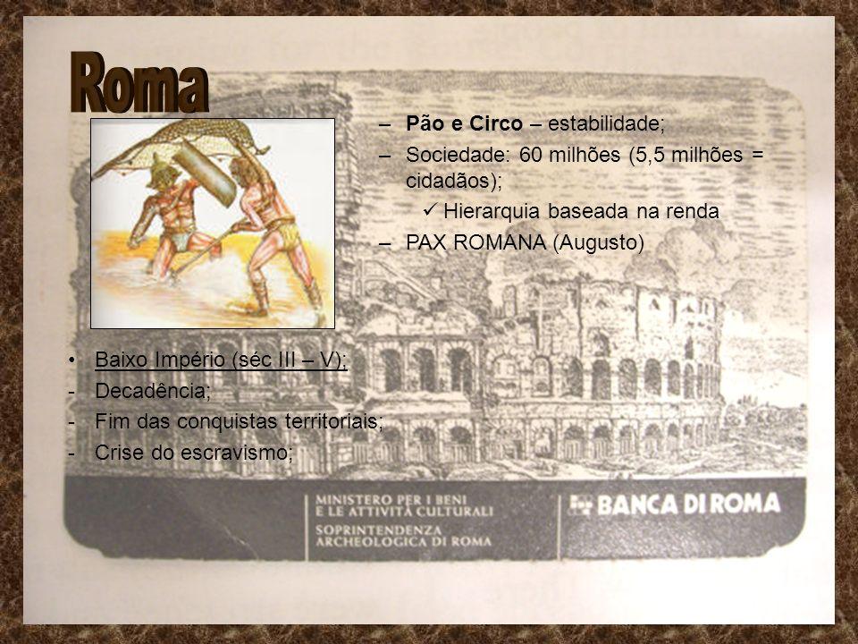 –Pão e Circo – estabilidade; –Sociedade: 60 milhões (5,5 milhões = cidadãos); Hierarquia baseada na renda –PAX ROMANA (Augusto) Baixo Império (séc III