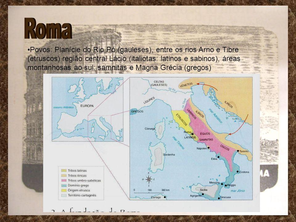 Povos: Planície do Rio Pó (gauleses), entre os rios Arno e Tibre (etruscos) região central Lácio (italiotas: latinos e sabinos), áreas montanhosas ao