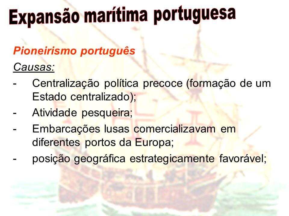 Pioneirismo português Causas: -Centralização política precoce (formação de um Estado centralizado); -Atividade pesqueira; -Embarcações lusas comercial