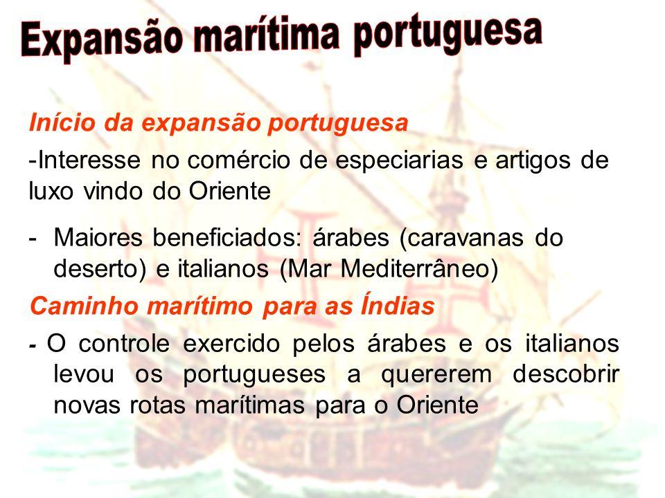 Início da expansão portuguesa -Interesse no comércio de especiarias e artigos de luxo vindo do Oriente -Maiores beneficiados: árabes (caravanas do des