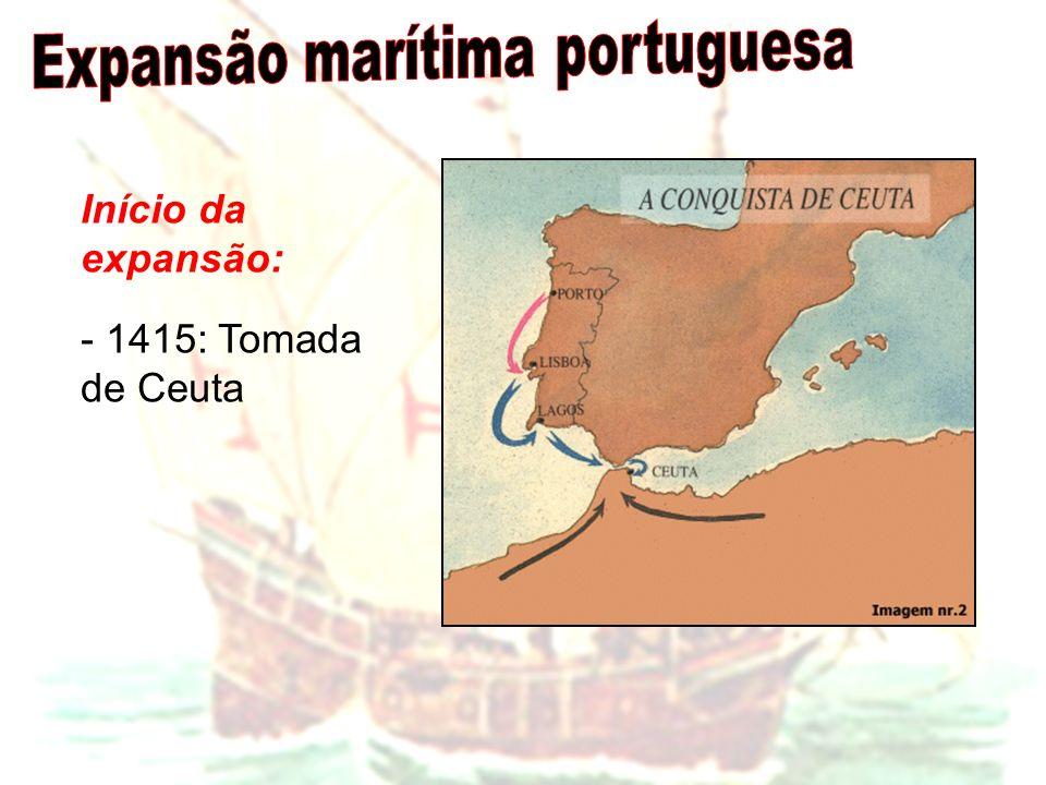 Início da expansão: - 1415: Tomada de Ceuta