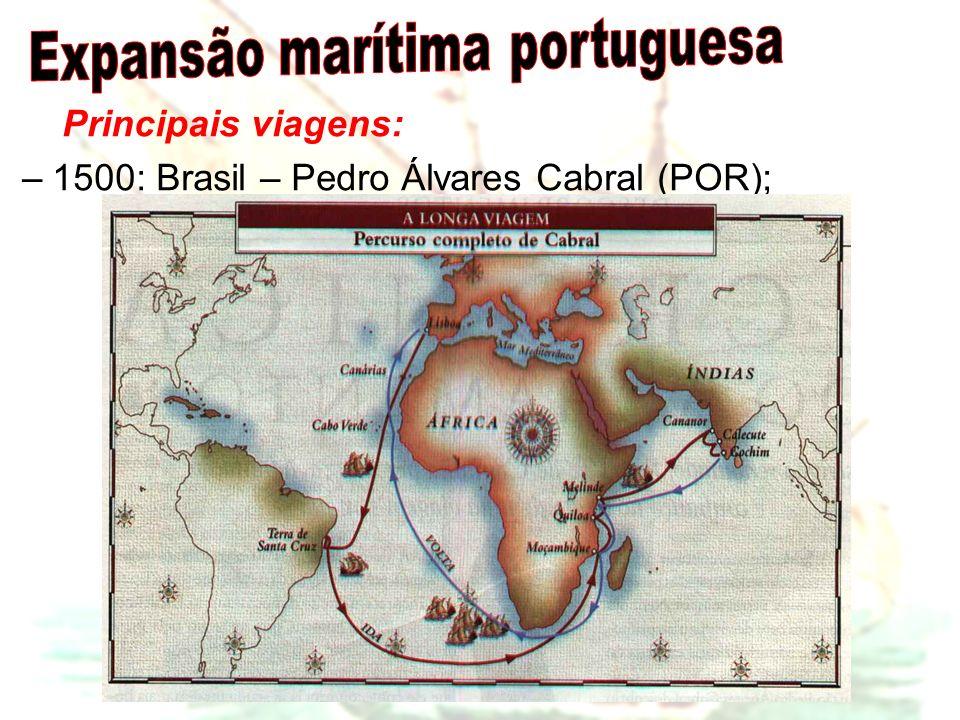 Principais viagens: –1500: Brasil – Pedro Álvares Cabral (POR);