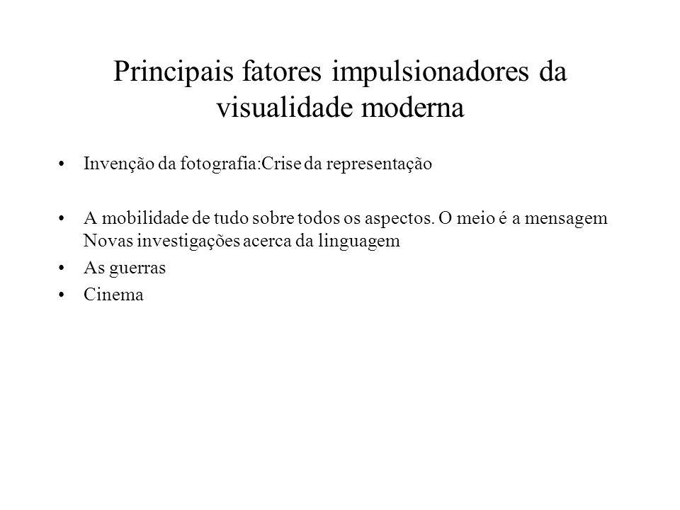 Principais fatores impulsionadores da visualidade moderna Invenção da fotografia:Crise da representação A mobilidade de tudo sobre todos os aspectos.