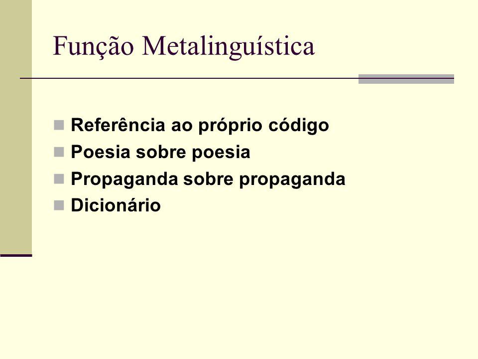 Função Metalinguística Referência ao próprio código Poesia sobre poesia Propaganda sobre propaganda Dicionário