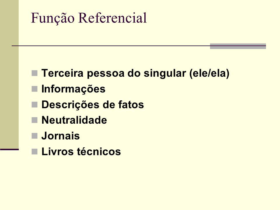 Função Referencial Terceira pessoa do singular (ele/ela) Informações Descrições de fatos Neutralidade Jornais Livros técnicos