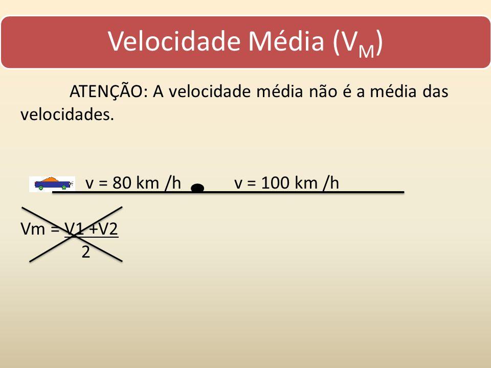 Velocidade Média (VM) ATENÇÃO: A velocidade média não é a média das velocidades. v = 80 km /h v = 100 km /h Vm = V1 +V2 2