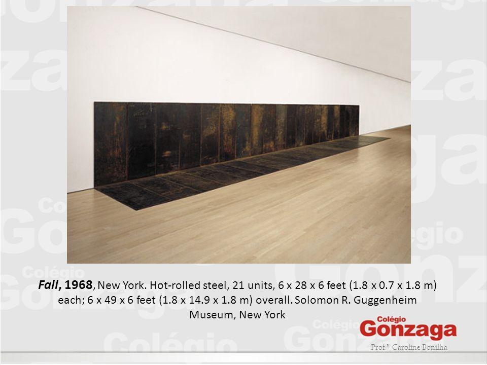 Prof.ª Caroline Bonilha Fall, 1968, New York. Hot-rolled steel, 21 units, 6 x 28 x 6 feet (1.8 x 0.7 x 1.8 m) each; 6 x 49 x 6 feet (1.8 x 14.9 x 1.8