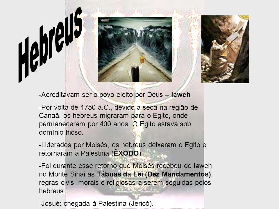 -Em Canaã já estavam estabelecidos outros povos; -Juízes: Divididos em 12 tribos, eram liderados pelos juízes (chefes militares e políticos escolhidos pelo povo em caso de ameaças de filisteus e cananeus) -Gideão, Sansão e Samuel; -1000 a.C implantaram a monarquia (reforço da unidade por meio de um Estado organizado) Reis; - Saul: conquistas militares; -Davi – vitória sobre filisteus, poderio militar, conquista de toda a Palestina (Jerusalém).