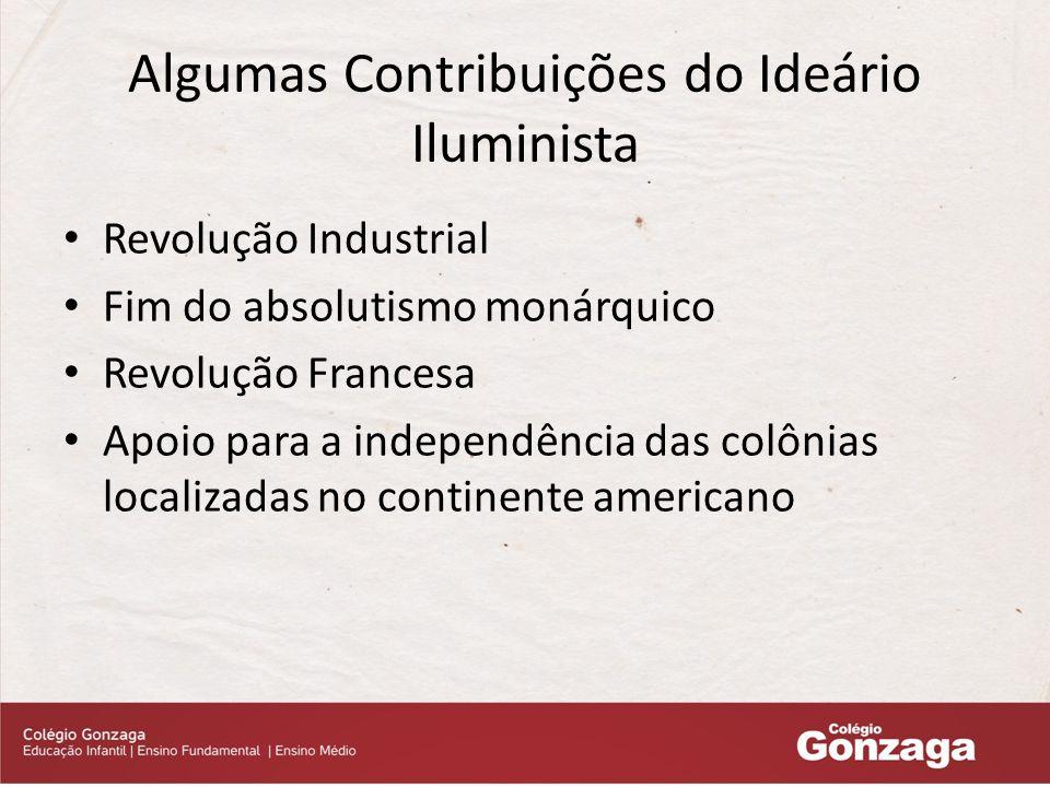 Algumas Contribuições do Ideário Iluminista Revolução Industrial Fim do absolutismo monárquico Revolução Francesa Apoio para a independência das colônias localizadas no continente americano
