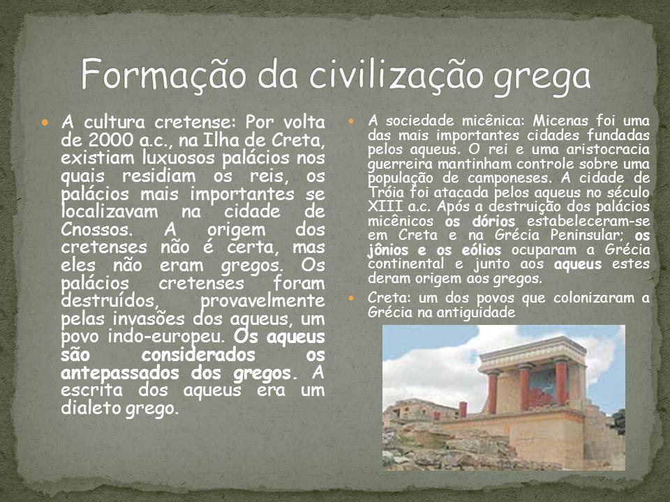 A cultura cretense: Por volta de 2000 a.c., na Ilha de Creta, existiam luxuosos palácios nos quais residiam os reis, os palácios mais importantes se l