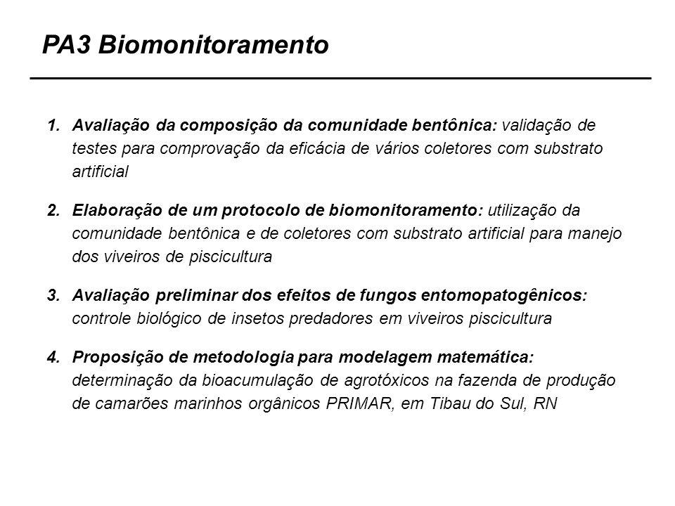 1.Avaliação da composição da comunidade bentônica: validação de testes para comprovação da eficácia de vários coletores com substrato artificial 2.Ela