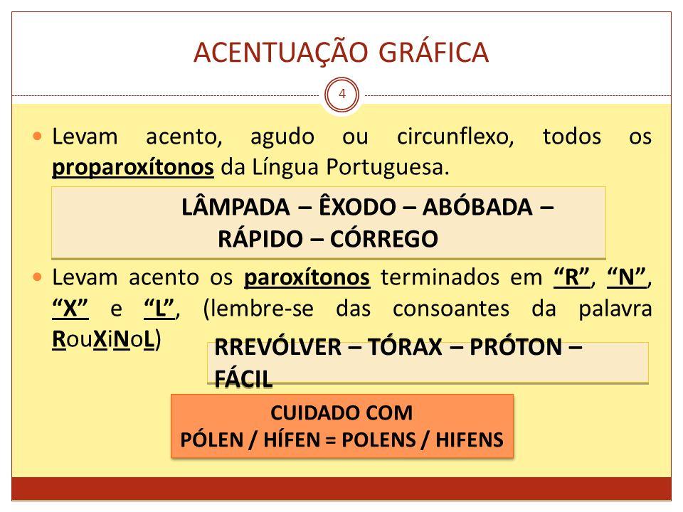 ACENTUAÇÃO GRÁFICA 4 Levam acento, agudo ou circunflexo, todos os proparoxítonos da Língua Portuguesa. Levam acento os paroxítonos terminados em R, N,