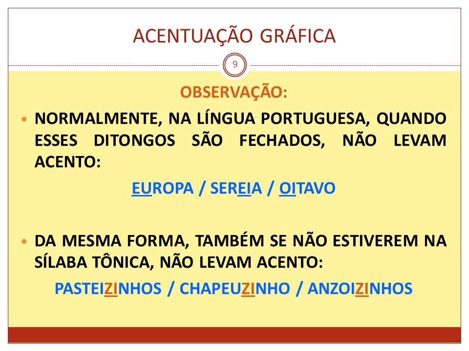 ACENTUAÇÃO GRÁFICA 9 OBSERVAÇÃO: NORMALMENTE, NA LÍNGUA PORTUGUESA, QUANDO ESSES DITONGOS SÃO FECHADOS, NÃO LEVAM ACENTO: EUROPA / SEREIA / OITAVO DA