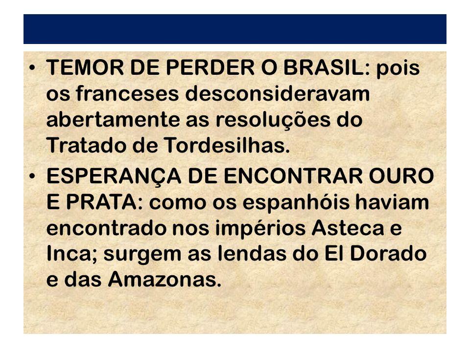 TEMOR DE PERDER O BRASIL: pois os franceses desconsideravam abertamente as resoluções do Tratado de Tordesilhas. ESPERANÇA DE ENCONTRAR OURO E PRATA: