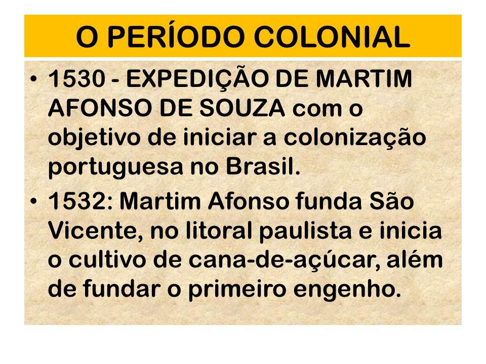 O PERÍODO COLONIAL 1530 - EXPEDIÇÃO DE MARTIM AFONSO DE SOUZA com o objetivo de iniciar a colonização portuguesa no Brasil. 1532: Martim Afonso funda