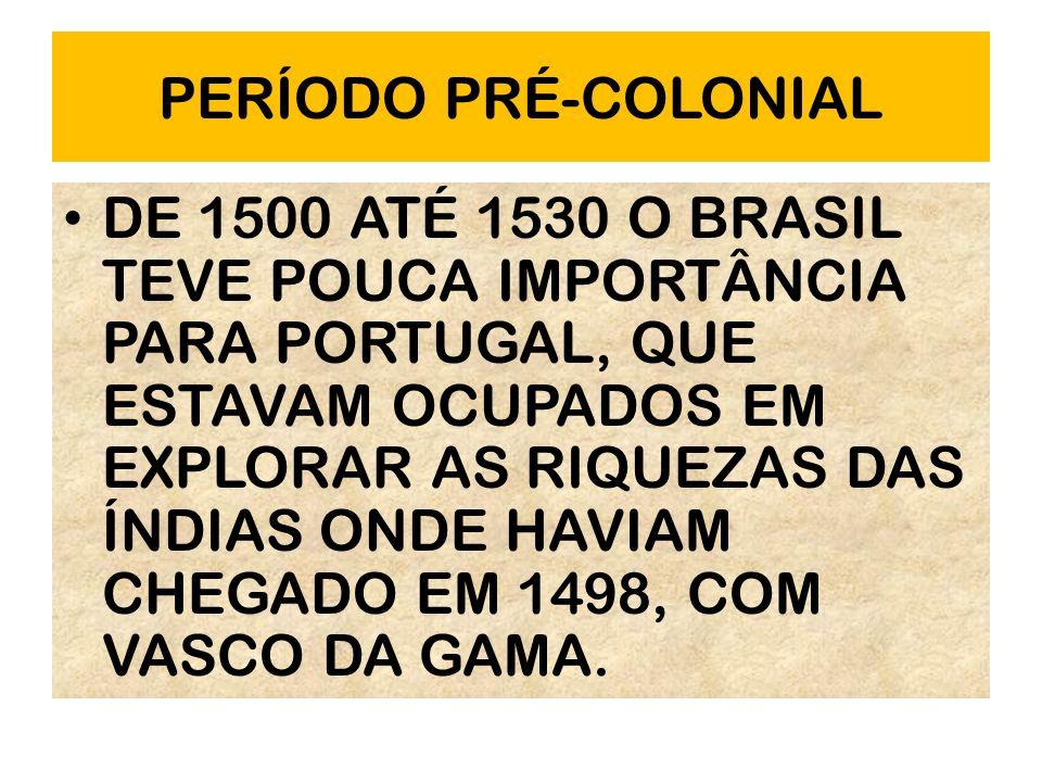 PERÍODO PRÉ-COLONIAL DE 1500 ATÉ 1530 O BRASIL TEVE POUCA IMPORTÂNCIA PARA PORTUGAL, QUE ESTAVAM OCUPADOS EM EXPLORAR AS RIQUEZAS DAS ÍNDIAS ONDE HAVI
