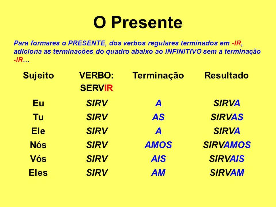 O Pretérito Imperfeito Para formares o PRETÉRITO IMPERFEITO, para verbos regulares terminados em -AR, junta as terminações do quadro abaixo ao INFINITIVO sem a terminação -AR… SujeitoVERBO: FALAR TerminaçãoResultado EuFALASSEFALASSE TuFALASSESFALASSES EleFALASSEFALASSE NósFALÁSSEMOSFALÁSSEMOS VósFALÁSSEISFALÁSSEIS ElesFALASSEMFALASSEM