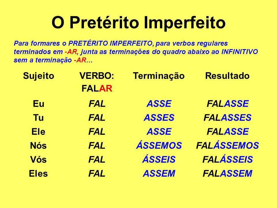O Pretérito Imperfeito Para formares o PRETÉRITO IMPERFEITO, para verbos regulares terminados em -AR, junta as terminações do quadro abaixo ao INFINIT