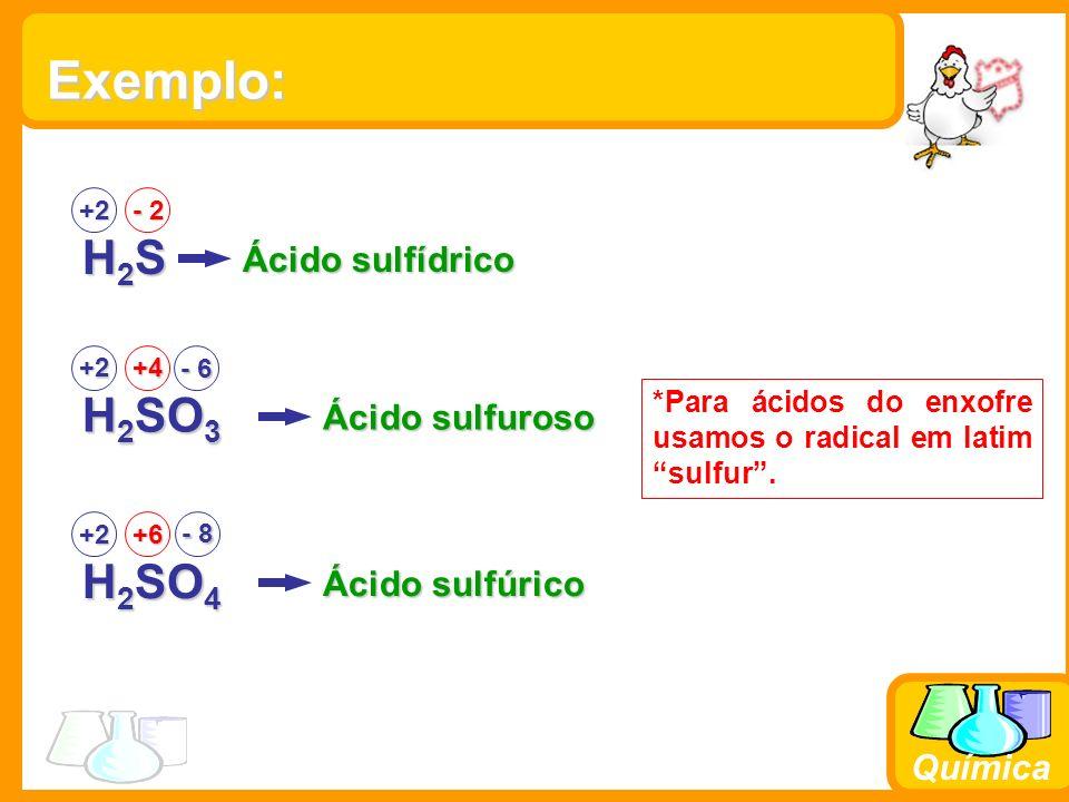 Química Exemplo: H2SH2SH2SH2S +2 - 2 Ácido sulfídrico H 2 SO 3 +2+4 Ácido sulfuroso H 2 SO 4 +2+6 Ácido sulfúrico - 8 *Para ácidos do enxofre usamos o