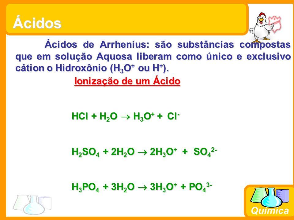 Química Ácidos Ácidos de Arrhenius: são substâncias compostas que em solução Aquosa liberam como único e exclusivo cátion o Hidroxônio (H 3 O + ou H + ).