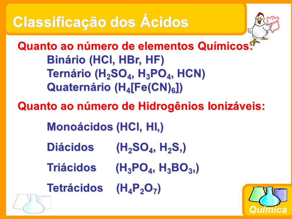Química Classificação dos Ácidos Quanto ao número de elementos Químicos: Binário (HCl, HBr, HF) Ternário (H 2 SO 4, H 3 PO 4, HCN) Quaternário (H 4 [Fe(CN) 6 ]) Quanto ao número de Hidrogênios Ionizáveis: Monoácidos (HCl, HI,) Diácidos (H 2 SO 4, H 2 S,) Triácidos (H 3 PO 4, H 3 BO 3,) Tetrácidos (H 4 P 2 O 7 )