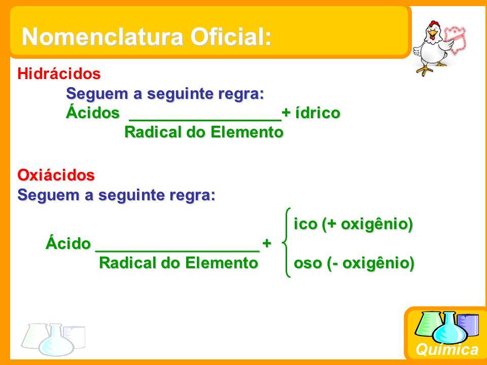 Química Nomenclatura Oficial: Hidrácidos Seguem a seguinte regra: Ácidos + ídrico Radical do Elemento Radical do Elemento Oxiácidos Seguem a seguinte regra: ico (+ oxigênio) ico (+ oxigênio) Ácido __________________ + Radical do Elemento oso (- oxigênio) Radical do Elemento oso (- oxigênio)