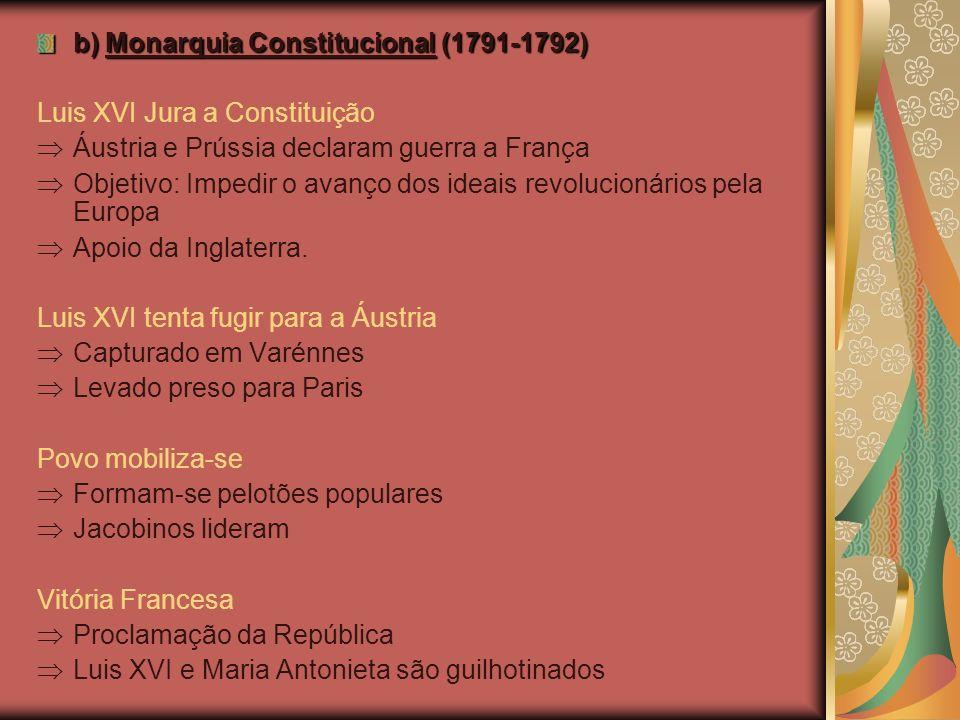 b) Monarquia Constitucional (1791-1792) Luis XVI Jura a Constituição Áustria e Prússia declaram guerra a França Objetivo: Impedir o avanço dos ideais