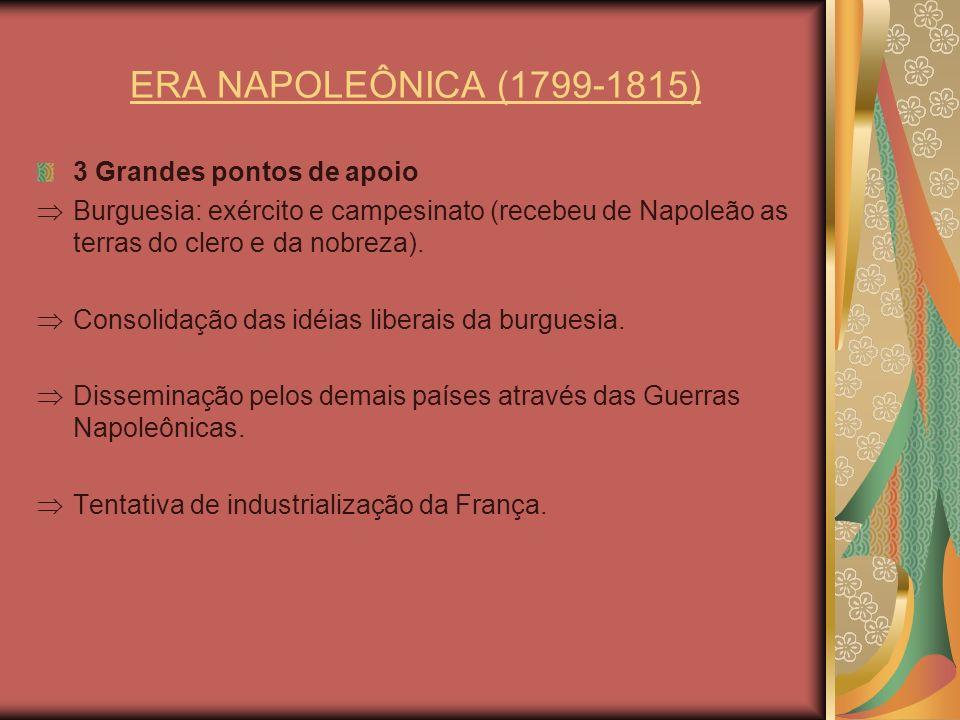 ERA NAPOLEÔNICA (1799-1815) 3 Grandes pontos de apoio Burguesia: exército e campesinato (recebeu de Napoleão as terras do clero e da nobreza). Consoli